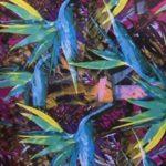 шифон цвет. листья тропик