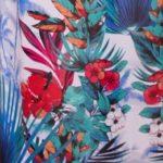 шифон цвет. голубые пальмы